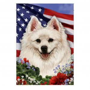 4th of July, American Eskimo Dog, Garden Flag , Canvas Material - Woastuff
