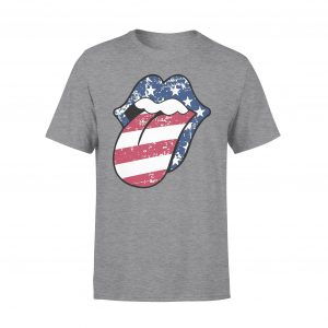 4th of July, American Flag, Tongue and Lips, Red White Blue 4th of July, Family Matching T shirts, Unisex, Cotton - Woastuff