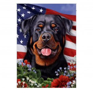 4th of July, Rottweiler Dog, Garden Flag, American Flag, Canvas - Woastuff