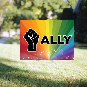 Black Lives Matter Ally Yard Sign, Ally Rainbow Lawn Sign, H-stake, 4mm Polypropylene - Woastuff