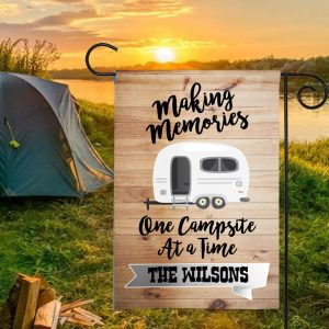 Making Memories Campfires, Custom Flag, Camping Flag, Custom Name, Thick Canvas, High Quality - Woastuff