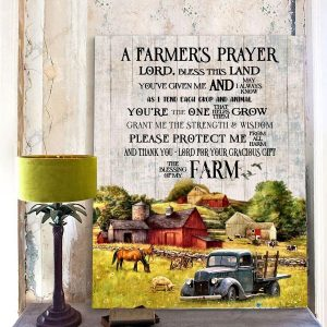 A Farmer's Prayer - Lord, Bless This Land You're Given Me, Tractor Lover Poster, Farmhouse Decor, Wall Decor, Farm Life, Sublimation printing - Woastuff