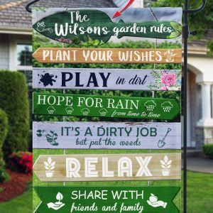 Plant Your Wishes, Play In Dirt, Hope For Rain, Garden Rules Custom Flag, Green Flag, Double Side, High Quality - Woastuff