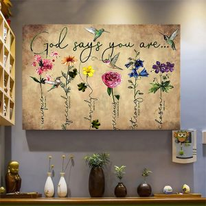 Floral Wall Decor, July Month Of The Precious Blood, Floral Poster, Humming Bird, Sublimation Printing - Woastuff
