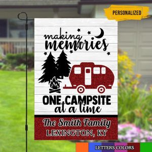 Camper Rules Custom Flag, Campsite Flag, Making Memories, Double Side, High Quality - Woastuff