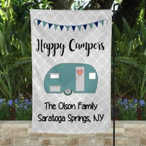 Happy Campers Custom Flag, Camping Garden Flag, Rustic Look Design, Thick Canvas, Double Side - Woastuff