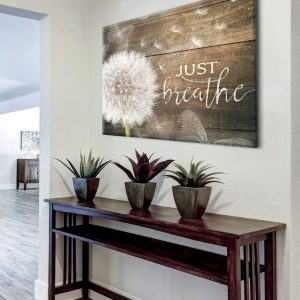 Rustic Decor Wall Art, Just Breathe, Housewarming Gift, Meditation Ideas With Dandelion And Butterflies, Poster, Canvas, Metal Sign - Woastuff