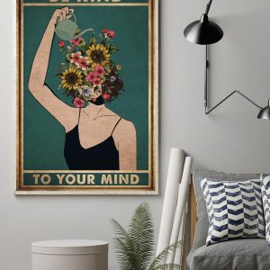 Mental Be Kind To Your Mind, Gifts For Her, Sunflower Poster, Wall Decor, Canvas, Metal Sign - Woastuff
