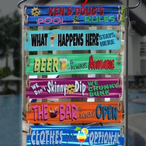 Custom Flag, Pool Rules Garden Flag, Funny Quote, Chunky Dunk, What Happens Here Stay Here, Canvas Material - Woastuff