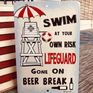 Garden Decorations, Metal Sign For Pool, Funny Pool Decorations, LifeGuard, Swim At Your Own Risk, Aluminum - Woastuff