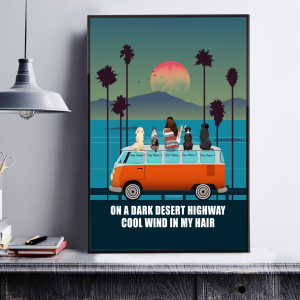 On A Dark Desert Highway, Cool Wind In My Hair, Hippie Trip Girl And Dogs, Wall Decor, Custom Poster, Canvas Options - Woastuff