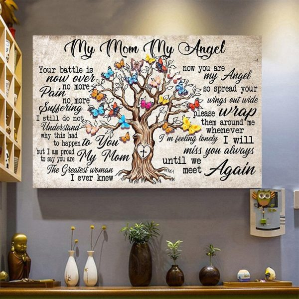 My Mom My Angel Poster, Mom Gifts, Touching Quote, Wall Decor, Canvas Options - Woastuff