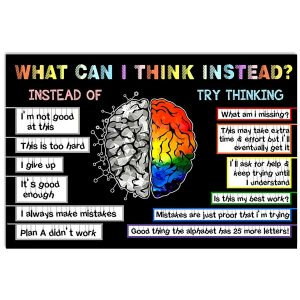 What Can I Think Instead, Inspirational Quote, Growth Mindset Poster, Wall Decor, Canvas Options - Woastuff