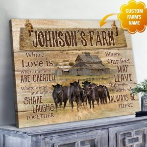 Farm Is Where Love Is Rustic Custom Farmhouse Wall Decor, Cattle Poster, Farm Life Canvas - Woastuff