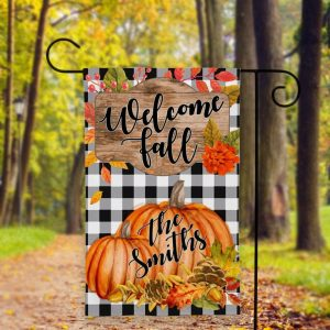 Garden Flag, Custom Flag, Welcome Fall, Custom Family Name, Canvas Material - Woastuff