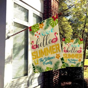 Custom Flag, Garden Flag, Custom Family Name, Flamingo, Welcome Summer, Canvas Material - Woastuff
