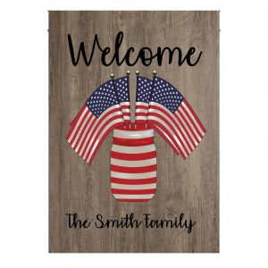4th Of July, Family Flag, USA Flag, Custom Name, Welcome Flag, Canvas - Woastuff