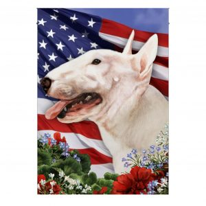 4th of July, Bull Terrier, American Flag, Garden Flag, Canvas Material - Woastuff