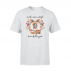Cute dog in wreath T-shirts, Sayings T-shirt, Most wonderful time of the year, Unisex, Gray color, Ultra cotton - Woastuff
