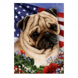 4th of July , Garden Flag, Pug On American Flag, Canvas Material - Woastuff